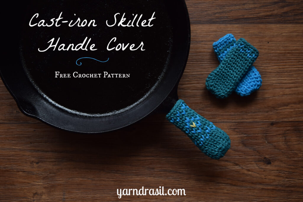 Cast-iron skillet handle cover in three colors