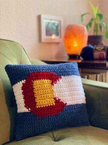 Colorado Flag Crochet Pillow