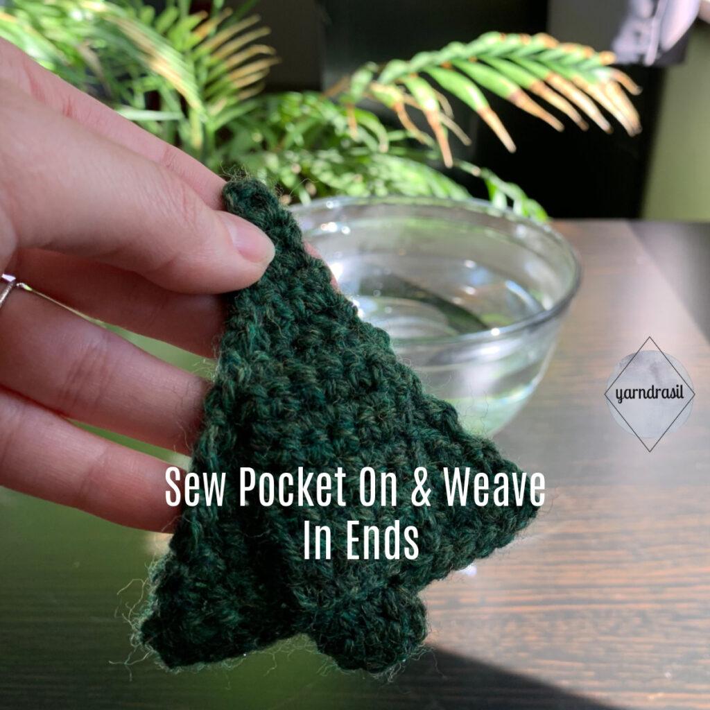 Pocket sewn on before felting