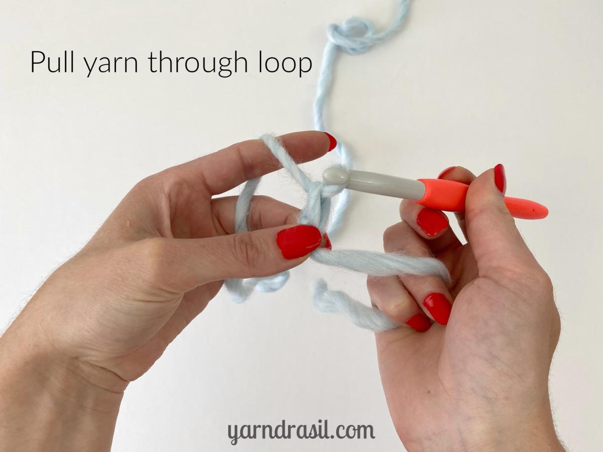 Pull yarn through loop