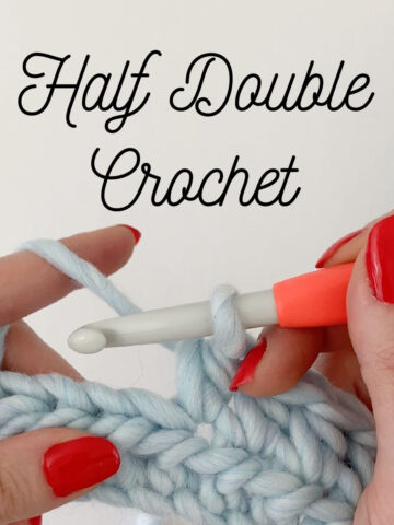 Close up of half double crochet