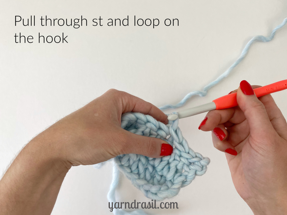 Pull through stitch and loop on the hook