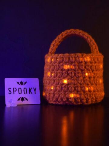 Crochet LED Basket for Trick or Treating