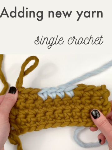 Adding new yarn, single crochet