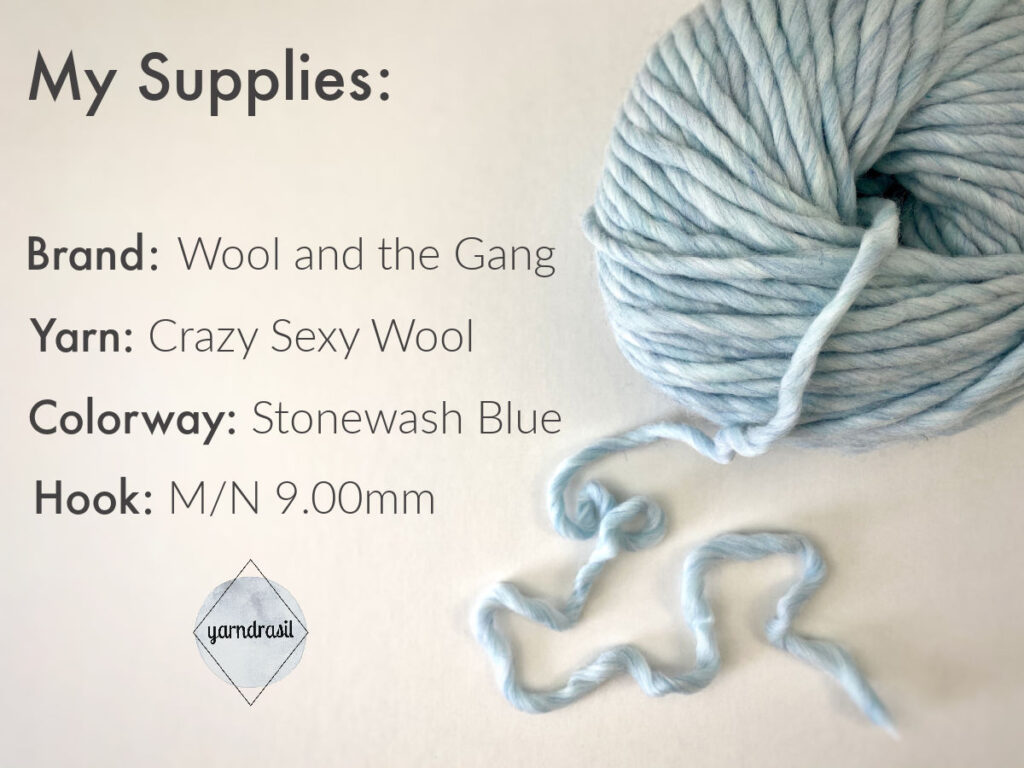 Supplies needed: super bulky yarn and a corresponding hook