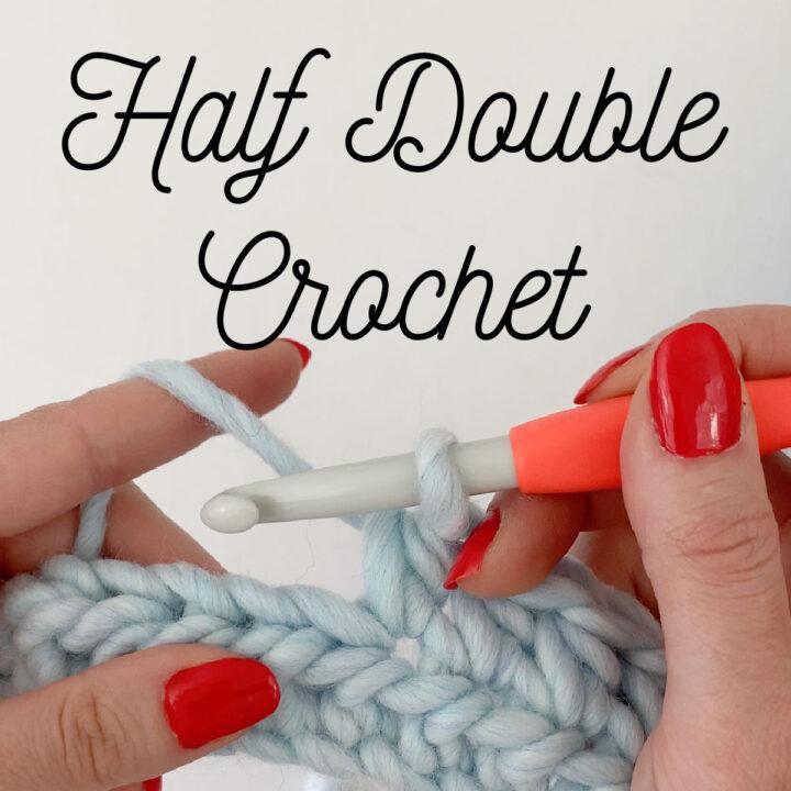 Close up of half double crochet stitch