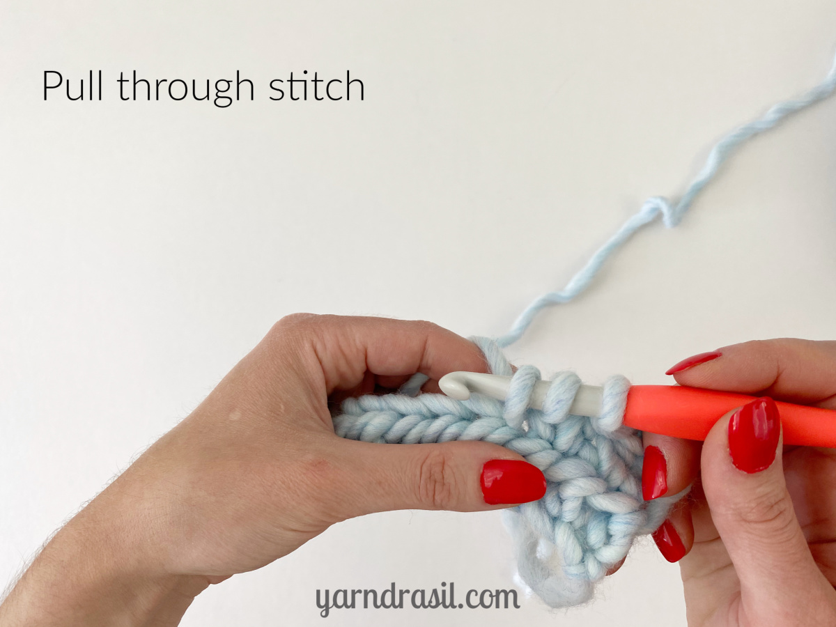 Pull through stitch (3 loops on hook)