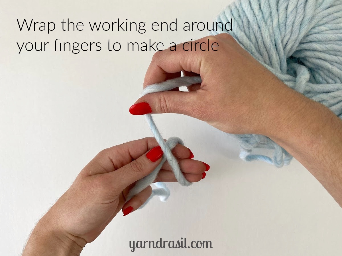 Wrap the working end of the yarn around your fingers to make a circle