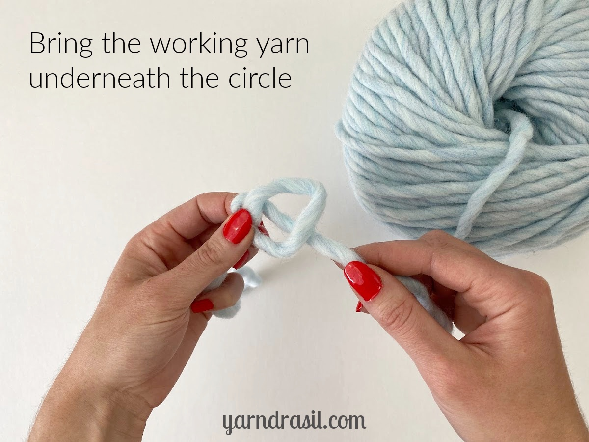 Bring the working yarn underneath the circle