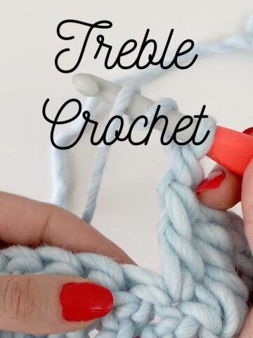 Close up of treble crochet stitch
