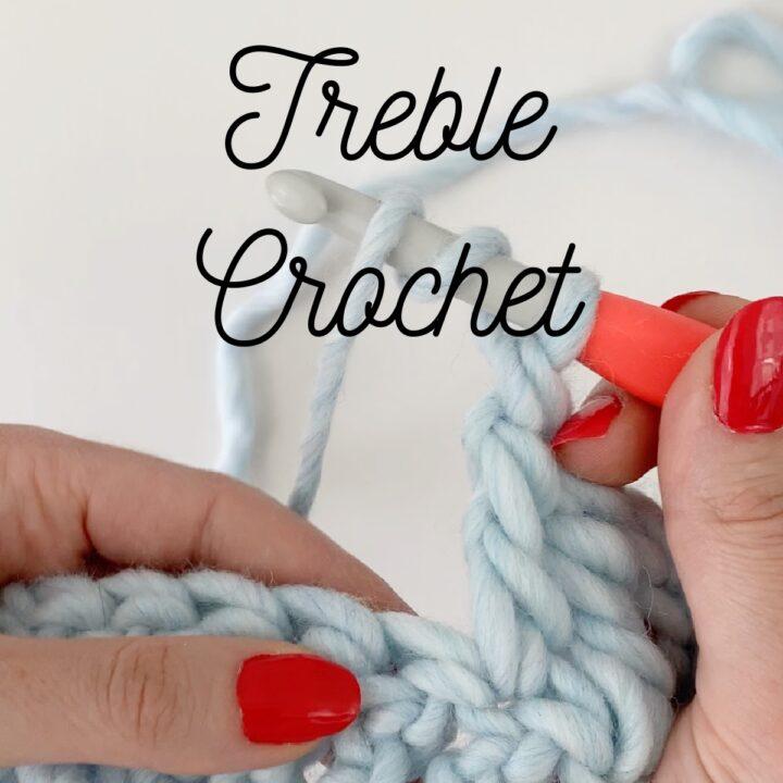 Close up of treble crochet stitch