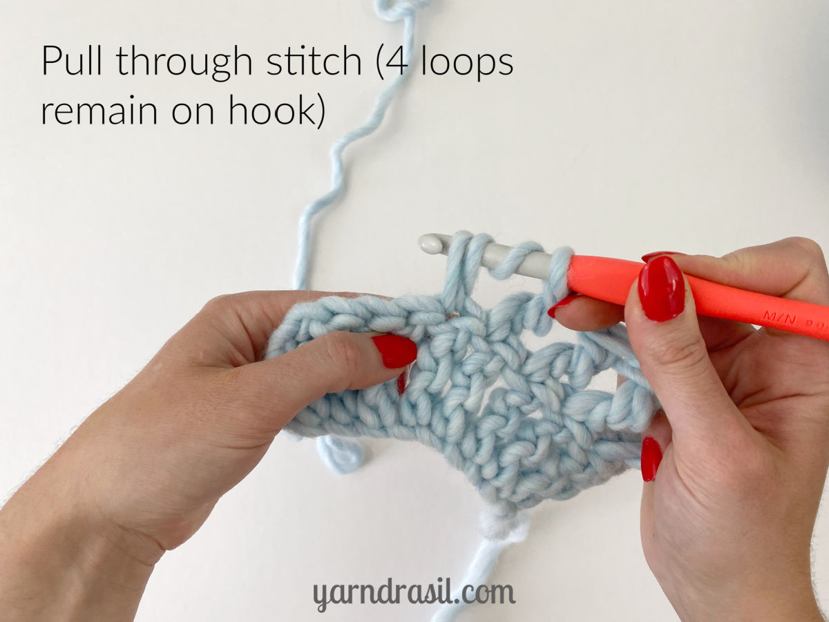 Pull through stitch (4 loops remain on hook)