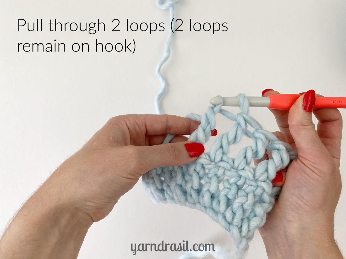 Pull through 2 loops (2 loops remain on hook)