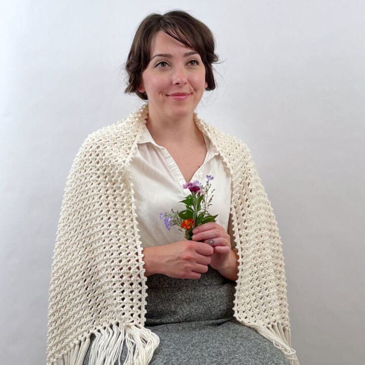 Portrait of me wearing the shawl and holding flowers